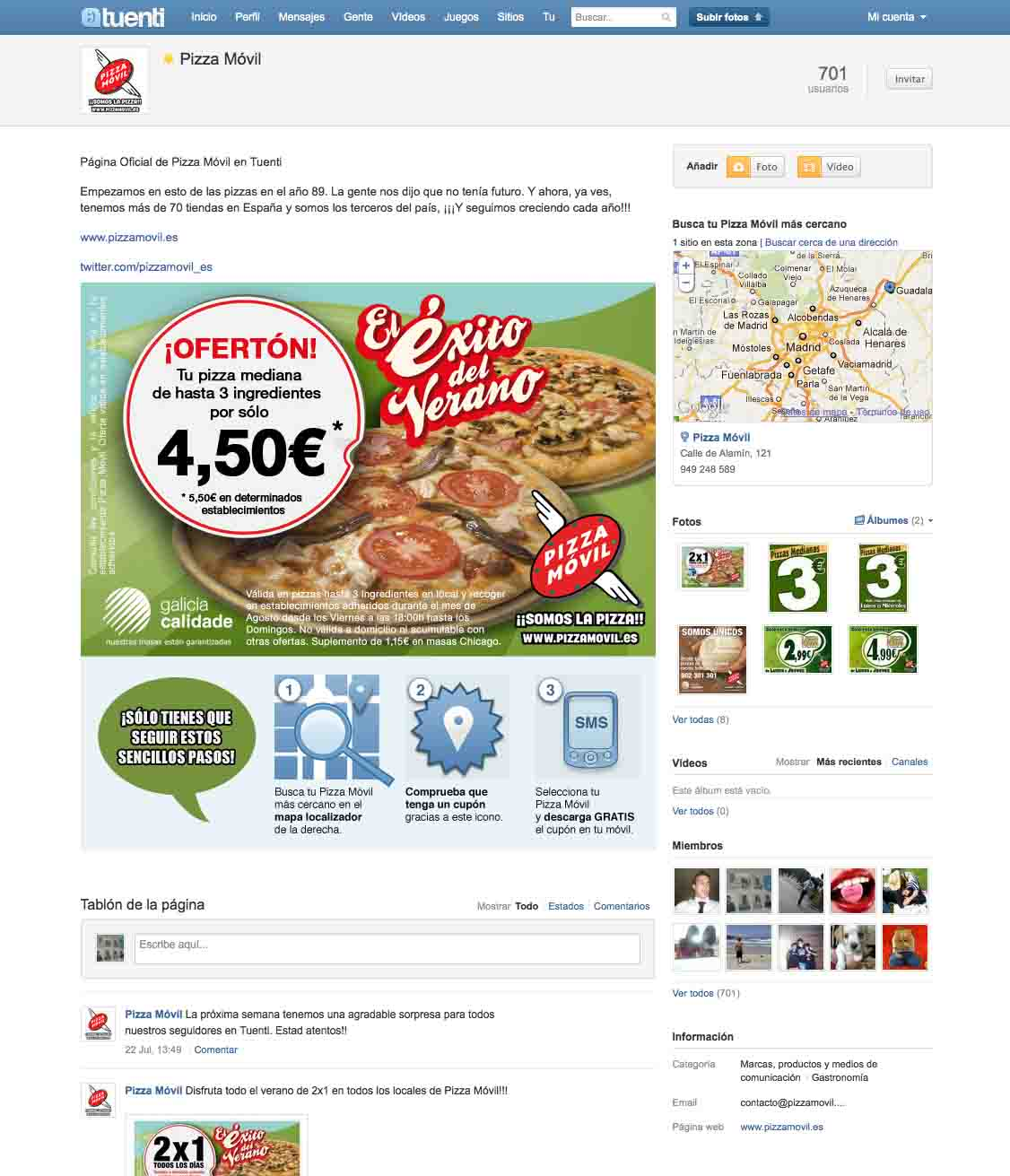 Pizza Móvil Tuenti Sitios